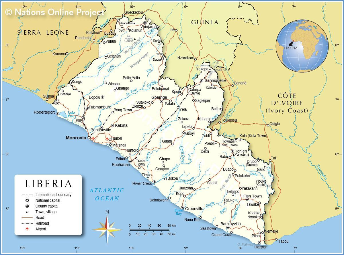 Karta Over Liberia I Vastra Afrika Kartan I Liberia I Vastra