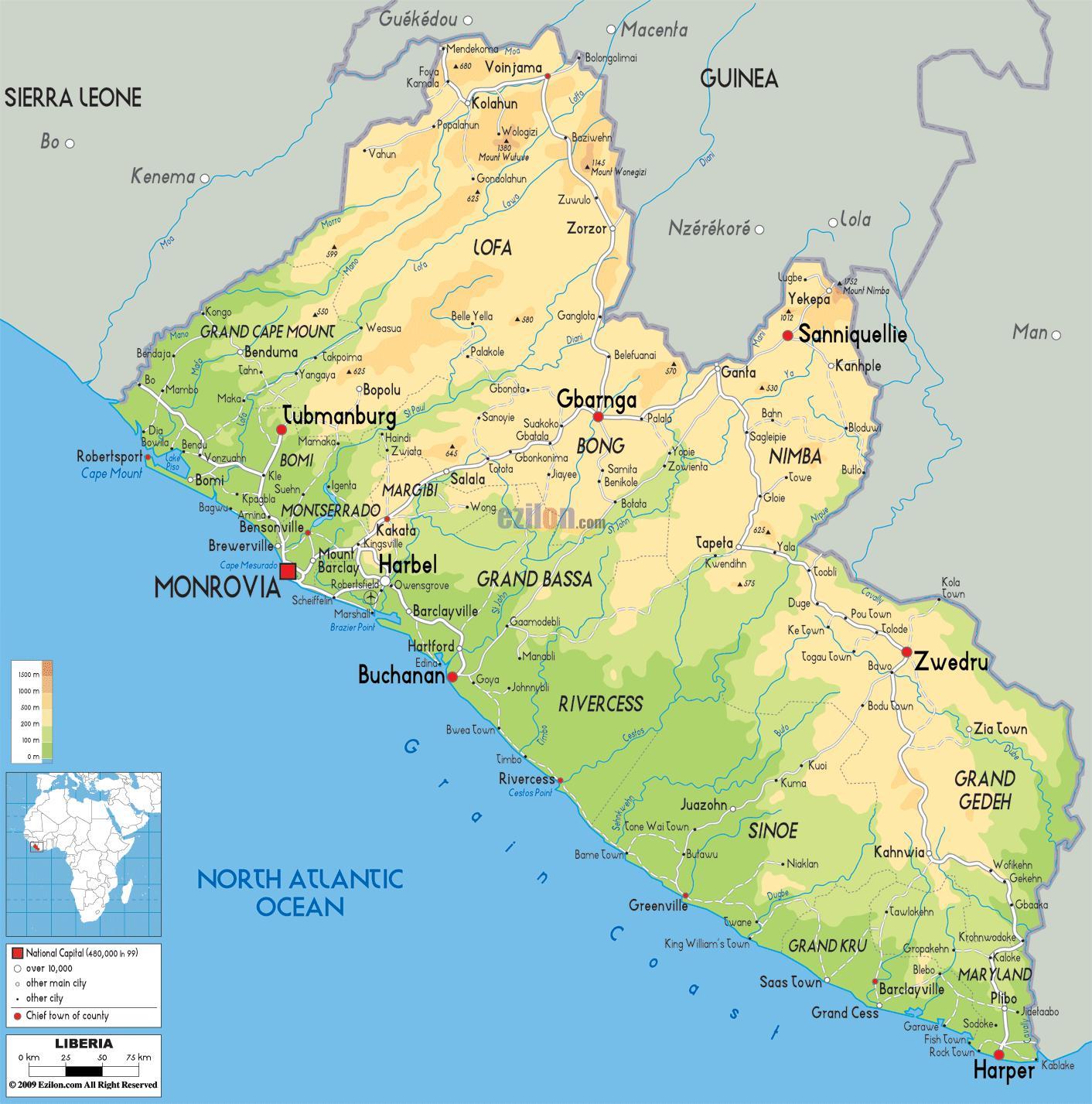 Karta Over Liberia Rita Kartan I Liberia I Vastra Afrika Afrika