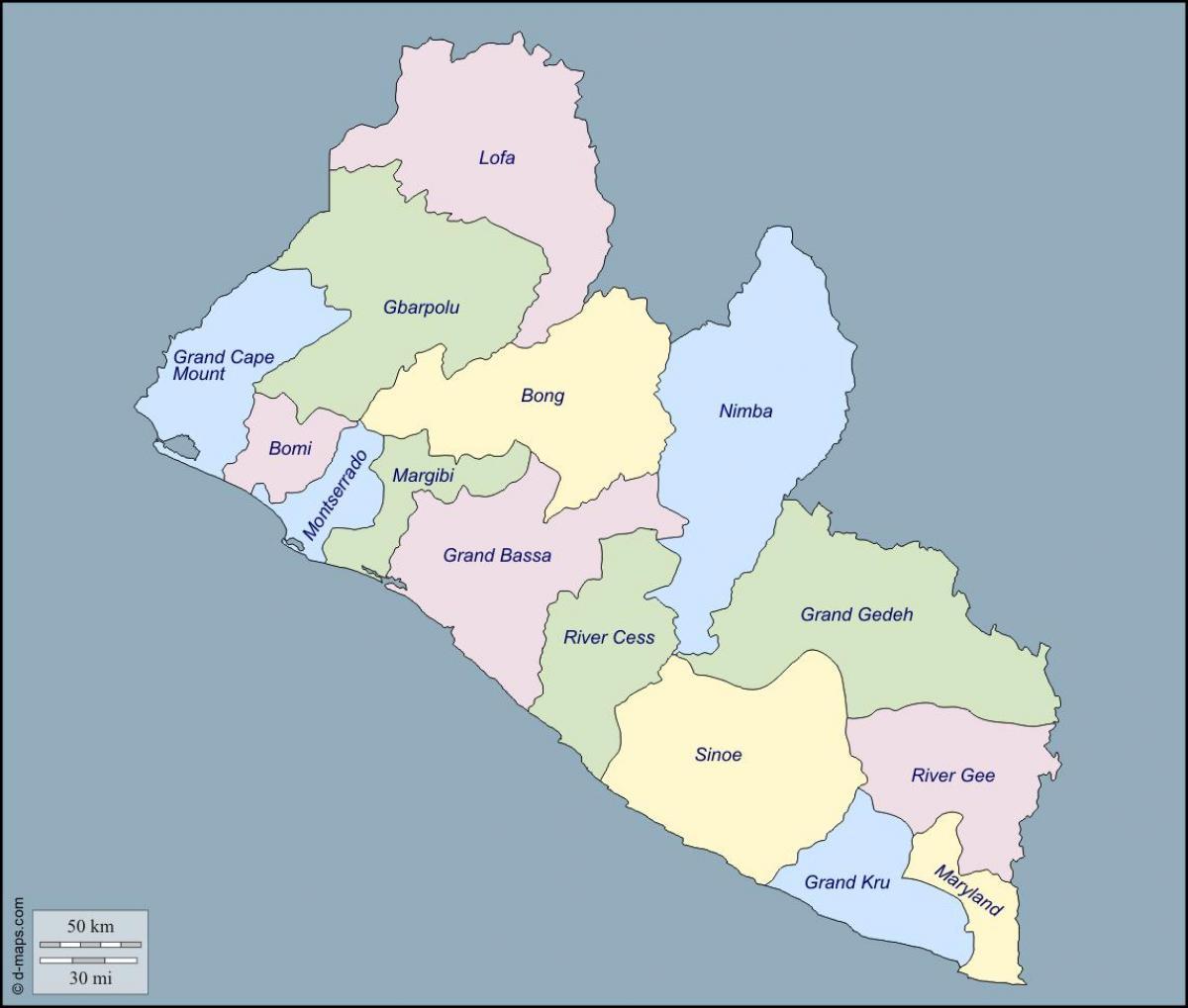 Karta Over Liberia Lan Karta Over Liberia Lan Vastra Afrika